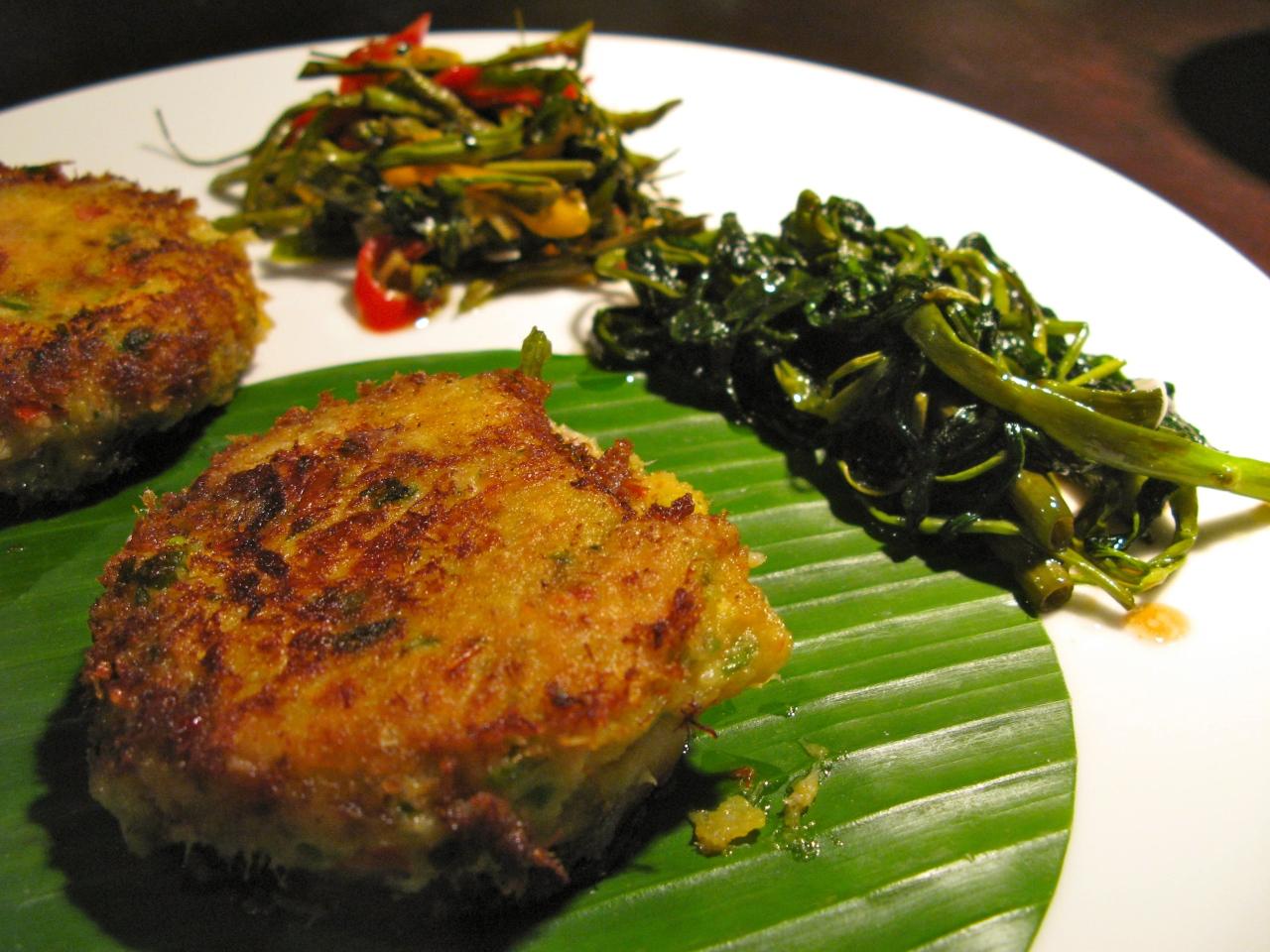Fishcakes mit Wassermimose undWasserspinat