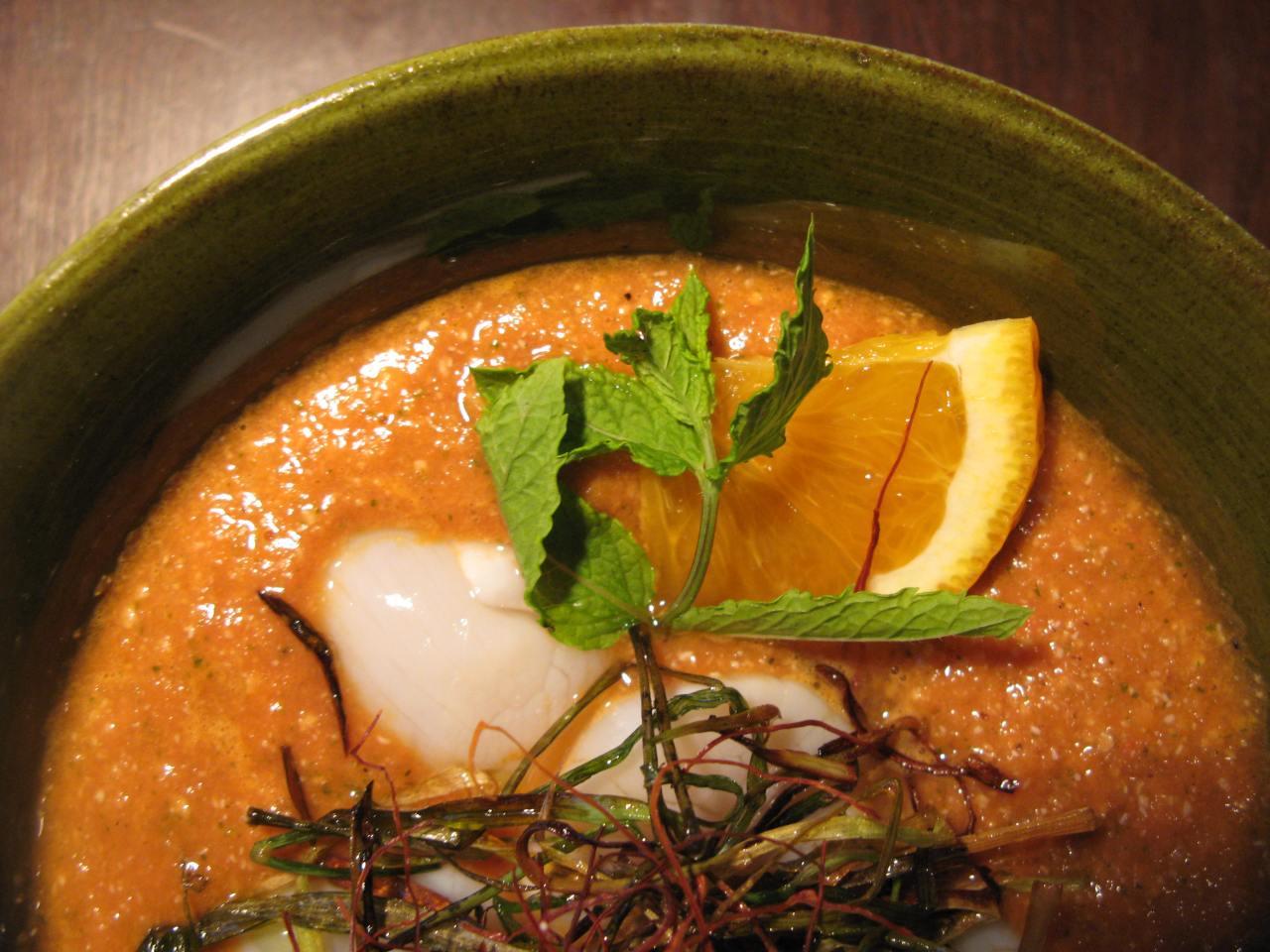 Gazpacho | Ceviche vonJakobsmuscheln