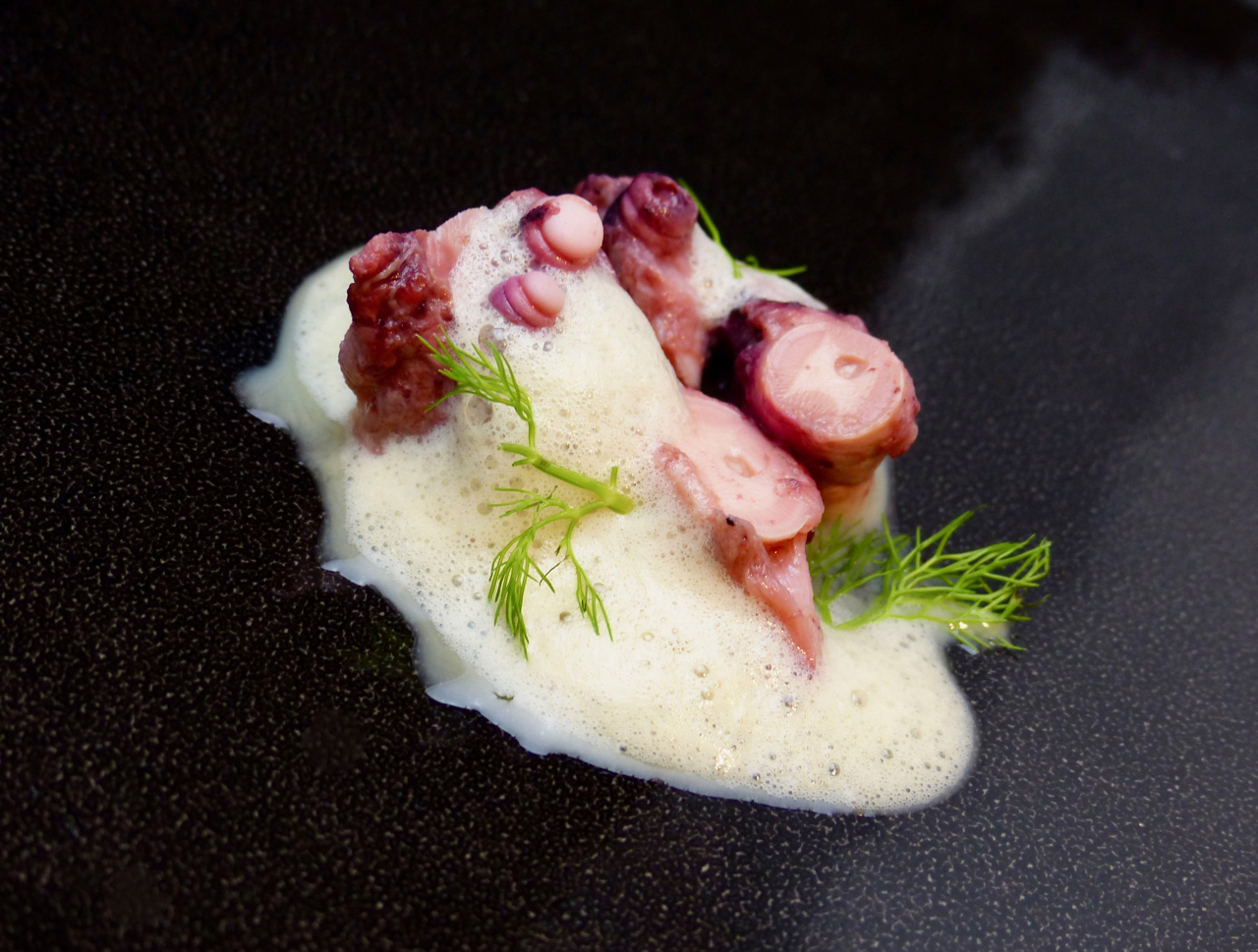 Oktopus | Fenchel | Granny Smith & Red Boat Dashi Espuma